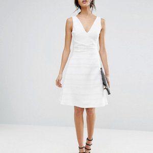 Reiss Daisy White Sleeveless Crepe A-Line Dress